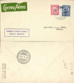 (Colombia) SCADTA F/F Ibague to Bogota, bs 23/10, franked 24c canc Scadta cds, blue boxed cachet, b/s 23/10, white on green Scadta etiquette rated scarce by Mair, plain cover, 175 flown,