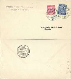(Colombia) SCADTA F/F Buga to Bogota, bs 23/12, franked 24c canc Scadta cds, violet two line flight cachet, 175 flown,