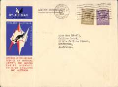 (GB External) Cover flown London to Melbourne, bs 22/12, carried on Australia extension of London-Singapore service, rated 1/3d, official Map and Kangaroo cover, Imperial Airways/Qantas. Non invasive ironed vertical crease.