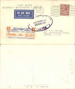 (GB Internal) Provincial Airways, inauguration of the third GB Internal Airmail Service, Southampton to Plymouth, cancelled on arrival 11pm Plymouth 25 Nov cds, 3d bi-coloured vignette tied, on departure, by Southampton double lined oval cachet, 319 flown. The service operated for six days only.