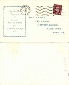 (Channel Islands) F/F Guernsey to England, no arrival ds, franked 1 1/2d, attractive printed green/cream 'R.R.Green' souvenir cover.
