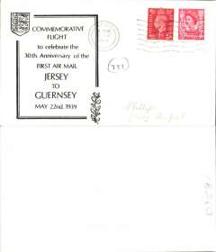 (Channel Islands) 30th anniversary first airmail Jersey to Guernsey, no arrival ds, attractive printed black/white souvenir cover, franked 5d, canc Jersey 22 May 1969.