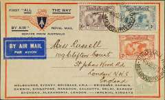 """(Australia) Return of the first Imperial Airways experimental flight England-Australia, Melbourne to London, no arrival ds (applied to registered mail only, souvenir """"All The Way"""" cover with IAW winged logo and route details, franked 1913 1/-, 1931 KS set of 3, ANA/Qantas/Imperial Airways."""