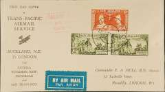"(New Zealand) Capt. Musik ""Samoan Clipper"", Auckland-San Francisco survey flight, bs 6/1/38, franked 4/6, red boxed cachet, par avion etiquette, printed souvenir cover, Pan Am."