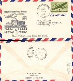(Puerto Rico) F/F FAM 5, San Juan to New York, bs 4/7, flown across 14000 miles of Atlantic, flight confirmation cachet, Pan Am