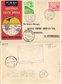 (Mauritius) First Regular Airmail S Africa-Australia, Port Louis to Johannesburg, b/s, violet cachet verso, official souvenir cover, Qantas