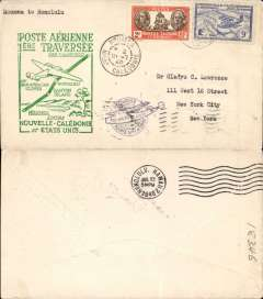(New Caledonia) F/F FAM 19  Noumea to Honolulu, green cachet, b/s, air cover, Pan Am