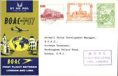 (Peru) F/F 707, Lima to London, official cover, b/s, BOAC