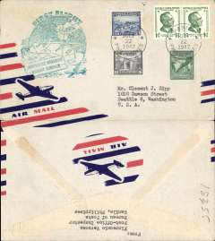 (Philippines) F/F FAM 28, Manila to Seattle , green flight cachet, b/s, airmail cover, North  West Airlines,