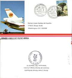 (Spain) Iberia, F/F DC10, Madrid-Washington, bs 18/6, special depart canc, souvenir company cover.