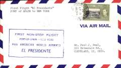 (Trinidad) F/F  El Presidente Stratocruiser, Port of Spain to New York AMF, cachet, b/s, Pan Am