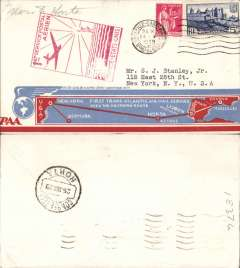(France) F/F FAM18 Southern Atlantic route, Marseilles to Horta (Azores), b/s, cachet, very attractive red/white/blue souvenir cover, Pan Am