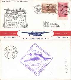 (Canada) F/F FAM 18 Northern Route, Shediac to Foynes, cachet, b/s, large violet diamond Ireland arrival cachet verso, red/white blue 'First Flight/Transatlantic Air Mail' Clipper souvenir cover, Pan Am.