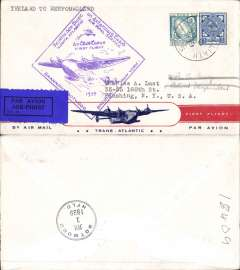 (Ireland) Pan Am FAM 18 F/F Foynes-Botwood, b/s, Foynes purple departure cachet on front, attractive red/white blue 'First Flight/Transatlantic/By Air Mail' Clipper souvenir cover.