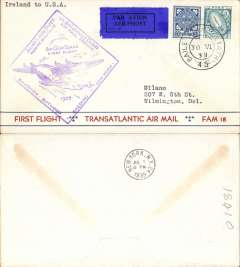 "(Ireland) Pan Am FAM 18 F/F Foynes-New York, b/s, Foynes purple departure cachet on front, attractive red/white blue ""Trans-Atlantic First Flight/Transatlantic Air Mail/FAM 18 Service"" bottom printing souvenir cover."