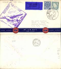 "(Ireland) Pan Am FAM 18 F/F Foynes-New York, b/s, Foynes purple departure cachet on front, attractive red/white/ dark blue ""First Flight/By Air Mail"" with blue plane in red circle bottom printing souvenir cover."