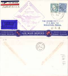 (Ireland) Pan Am FAM 18 F/F Foynes-New York, b/s, Foynes purple departure cachet on front, attractive red/white blue 'Trans-Atlantic First Flight/Transatlantic Air Mail Service' bottom printing souvenir cover.