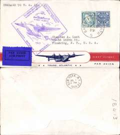 (Ireland) Pan Am FAM 18 F/F Foynes-New York, b/s, Foynes purple departure cachet on front, attractive red/white blue 'First Flight/Transatlantic/By Air Mail' Clipper souvenir cover.