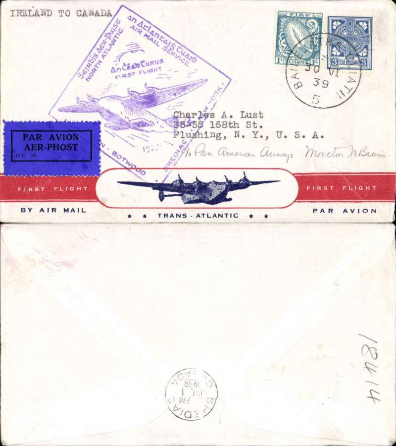 (Ireland) Pan Am FAM 18 F/F Foynes-Shediac, Canada, b/s, Foynes purple departure cachet on front, attractive red/white blue 'First Flight/Transatlantic/By Air Mail' Clipper souvenir cover.