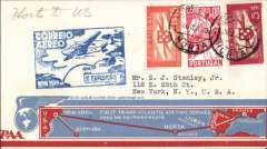 "(Azores) F/F FAM 18 Southern North Atlantic route, Horta-New York, blue cachet, b/s, very attractive and uncommon cream/light blue and red souvenir 'map'' cover with ""New York First Transatlantic Air Mail Service/Over the Southern Route"" text, Pan Am."