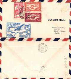 (Portugal) F/F FAM 18 Southern North Atlantic route, Lisbon-New York, b/s, blue cachet, airmail cover.
