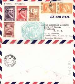 (Portuguese Guinea) F/F FAM 18, alternative westbound service, Bolama to Port of Spain, cachet, b/s, airmail cover, Pan Am.
