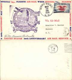 (United States Internal) National Airmail Week, 20th anniversary of inauguration of regular airmail service, commemorative flight Kitty Hawk to Dayton, b/s, large purple cachet, souvenir cover signed by postmaster HM Baum.