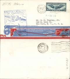 """(United States) F/F FAM 18 Southern North Atlantic route, New York to Marseilles, b/s, blue cachet, very attractive and uncommon cream/light blue and red souvenir 'map'' cover with """"New York First Transatlantic Air Mail Service/Over the Southern Route"""" text, Pan Am."""
