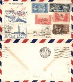 (United States) F/F FAM 18 Southern North Atlantic route, New York to Marseilles, b/s, blue cachet, airmail cover, Pan Am.