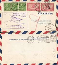 (United States) Pan Am F/F FAM 6, Miami to Cuba, bs Habana 9/1, airmail cover, large boxed flight cachet.