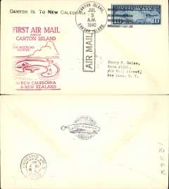 (Canton Island) Trans-Pacific, Pan Am F/F FAM 19, Canton Island to Noumea, red cachet, b/s, plain cover franked 10c.