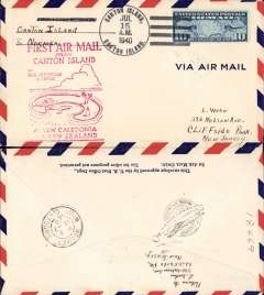 (Canton Island) Trans-Pacific, Pan Am F/F FAM 19, Canton Island to Noumea, red cachet, b/s, air cover franked 10c.