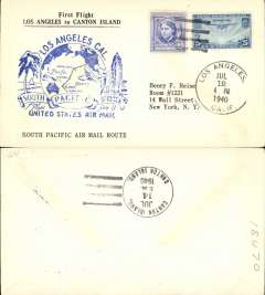"""(United States) Pan Am F/F FAM 19, Los Angeles to Canton Island, b/s, uncommon printed """"First Flight to canton Island/South Pacific Airmail Route"""" souvenir cover franked 31c."""