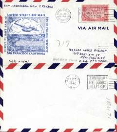(United States) F/F FAM 19, San Francisco to Auckland, cachet, b/s, airmail cover, Pan Am