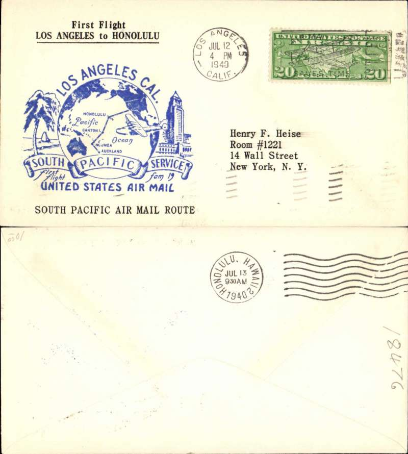 "(United States) Pan Am F/F FAM 19, Los Angeles to Honolulu, b/s,blue cachet, uncommon printed ""First Flight/Los Angeles to Canton Island/South Pacific Air Mail Route"" souvenir cover."