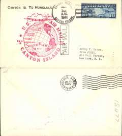 (Canton Island) F/F FAM 19 Canton Island to Honolulu, cachet, b/s, airmail cover, Pan Am