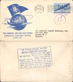 (United States) F/F FAM 24, New York-London, arrival ds on front, verso blue rectangular hs certifying service rendered, arrival date and name of plane, blue specially printed company cover, American Overseas Airlines,