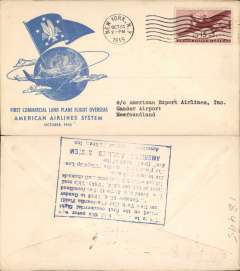 (United States) F/F FAM 24, New York to Gander, verso blue rectangular hs certifying service rendered, arrival date and name of plane, blue specially printed company cover, American Overseas Airlines,