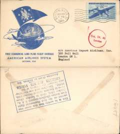(United States) F/F FAM 24, Boston-London, arrival ds on front, verso blue rectangular hs certifying service rendered, arrival date and name of plane, blue specially printed company cover, American Overseas Airlines,