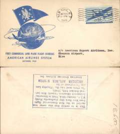 (United States) F/F FAM 24, New York to Shannon, verso blue rectangular hs certifying service rendered, arrival date and name of plane, blue specially printed company cover, American Overseas Airlines,