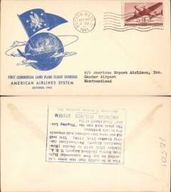 (United States) F/F FAM 24, Boston to Gander, verso blue rectangular hs certifying service rendered, arrival date and name of plane, blue specially printed company cover, American Overseas Airlines,