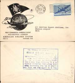 (United States) F/F FAM 24, Philadelphia to Shannon, verso blue rectangular hs certifying service rendered, arrival date and name of plane, blue specially printed company cover, American Overseas Airlines,