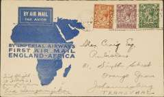 (GB External) Imperial Airways F/F London to Mwanza, bs 10/3, flown on inaugural England-East Africa service, blue/cream 'map' cover, franked 8 1/2d.