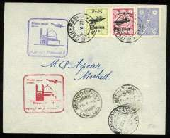 (Iran) Junkers Luftverkehr Persien round trip F/F's Teheran (Iran) to Meched (Iran) and return Meched to Teheran on May 11, 1929, with clear departure and arrival postmarks all on front, plain cover franked Scott Iran no. 723 (pair), C22 and C24, red and purple flight cachets in French and Arabic. Muller Iran #'s 29 and 29a.
