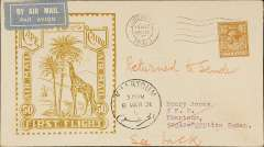"(GB External) Imperial Airways F/F London to Sudan, bs Khartoum 7/3, flown on inaugural England-East Africa service, uncommon Roessler yellow/olive ""Cape to Cairo/Air Mail/First Flight"" envelope with outline of Imperial Airways liner G-AAGX, ref ROE.FF5, illustrated p91 Newton, franked 5d, violet circular 'Imperial Airways/House/London' hs and blue/pink ""AC Roessler"" address label verso."