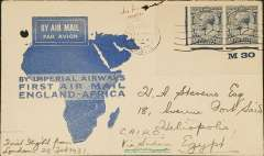 (GB External) Imperial Airways F/F London to Egypt, bs bs Cairo 2/3 and Heliopolis 3/3, flown on inaugural England-East Africa service, blue/white 'map' cover, franked 2 1/2d x2. Filing hole top left hand corner.