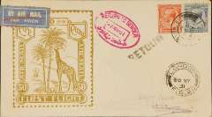 "(GB External) Imperial Airways F/F London to Cairo, bs 5/3, flown on inaugural England-East Africa service, uncommon Roessler yellow/olive ""Cape to Cairo/Air Mail/First Flight"" envelope with outline of Imperial Airways liner G-AAGX, ref ROE.FF5, illustrated p91 Newton, franked 3 1/2d, violet circular 'Imperial Airways/House/London' hs. Uncommon Egyptian oval magenta 'Return to Sender' hs, London FS20 arrival ds on front."