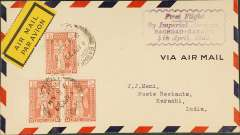 "(Iraq) First regular service to India, Baghdad to Karachi, bs 6/4, franked 4 1/2a canc Baghdad cds, purple scalloped cachet ""First Flight/By Imperial Airways/Baghdad-Karachi/4th April 1929"", black/yellow airmail etiquette, Imperial Airways."