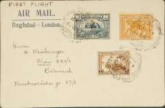 "(Iraq) Baghdad to Vienna, no arrival ds, via Cairo, 10/4 transit cds, carried on Imperial Airways F/F Baghdad to England, franked 6a canc Baghdad Cantonement dr cds, blue/cream ""Air Mail/Baghdad-London"" corner cover ms ""First Flight""."