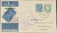 (Ireland) Imperial Airways, F/F North Atlantic Service, Shannon to Montreal, bs 6/8, official violet diamond cachet, official pale blue/black/pale grey souvenir cover franked 1/3d.
